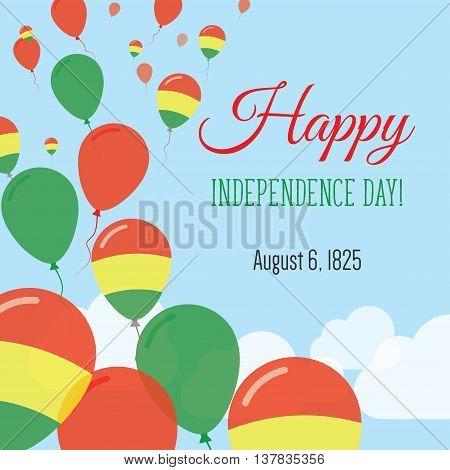 Independence Day Flat Greeting Card. Bolivia Independence Day. Bolivian Flag Balloons Patriotic Post