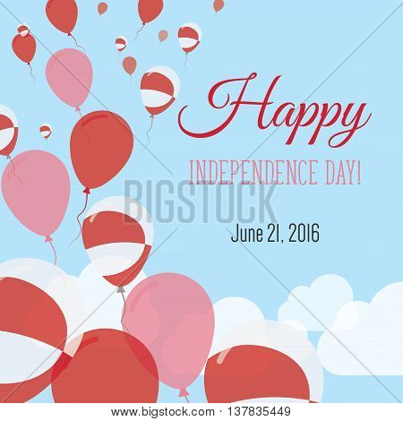 Independence Day Flat Greeting Card. Greenland Independence Day. Greenlandic Flag Balloons Patriotic