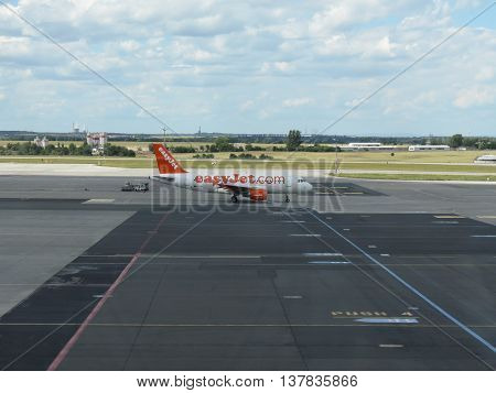 PRAGUE CZECH REPUBLIC - CIRCA JULY 2016: Airbus A319 of Easyjet airlines on the runway at Vaclav Havel international airport