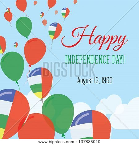 Independence Day Flat Greeting Card. Central African Republic Independence Day. Central African Flag