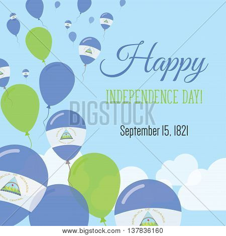 Independence Day Flat Greeting Card. Nicaragua Independence Day. Nicaraguan Flag Balloons Patriotic