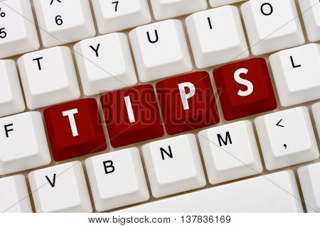 Getting Tips online A close-up of a keyboard with red highlighted text Tips