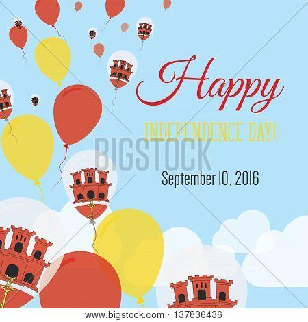 Independence Day Flat Greeting Card. Gibraltar Independence Day. Gibraltar Flag Balloons Patriotic P