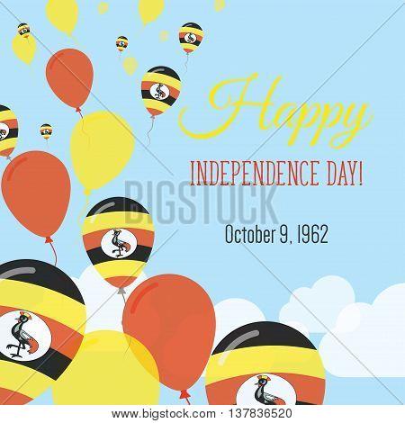 Independence Day Flat Greeting Card. Uganda Independence Day. Ugandan Flag Balloons Patriotic Poster