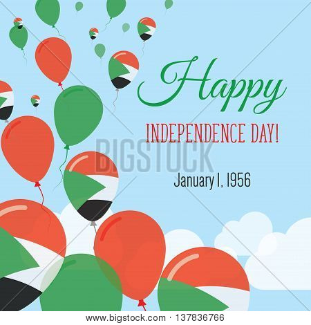 Independence Day Flat Greeting Card. Sudan Independence Day. Sudanese Flag Balloons Patriotic Poster