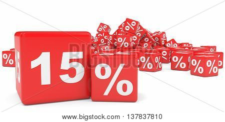 Red Sale Cubes. Fifteen Percent Discount.