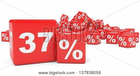Red Sale Cubes. Thirty Seven Percent Discount.