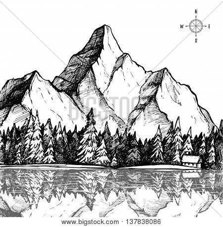 Hand drawn vector illustration - mountain and forest. Outdoor camping background