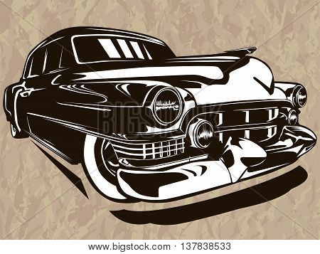 Vector illustration of American muscle car black