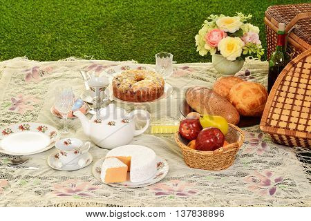 vintage picnic with dessert and bread with cheese