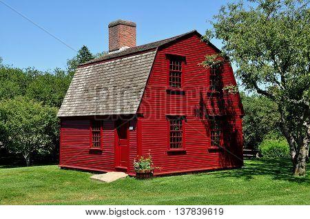 Middletown Rhode Island - July 16 2015: C. 1700 Guard House with gambrel roof General Prescott's Revolutionary War Headquarters at Prescott Farm Historic Site