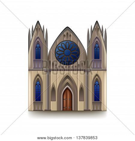 Gothic cathedral isolated on white photo-realistic vector illustration