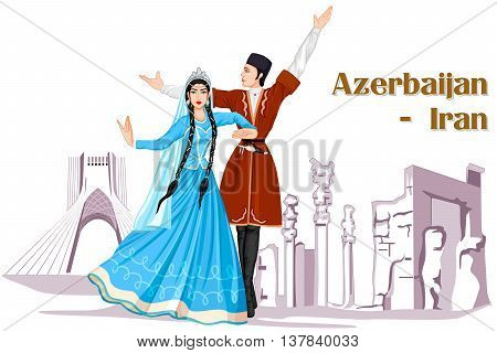 Vector design of Irani Couple performing Azerbaijan dance of Iran