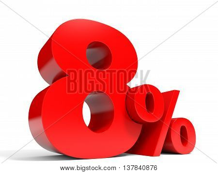 Red Eight Percent Off. Discount 8%.