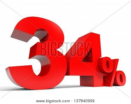 Red thirty four percent off. Discount 34%. 3D illustration. poster