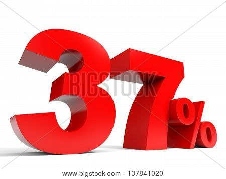 Red thirty seven percent off. Discount 37%. 3D illustration. poster
