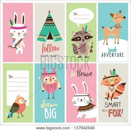 Set of cute woodland animals cards
