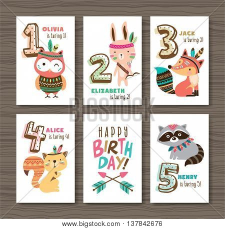 Birthday cards with birthday anniversary number and cute animals