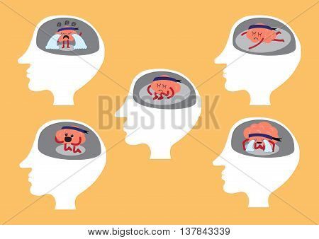 brain cartoon character vector illustration showing different depressing manners inside human head (conceptual image about brain reacting when you are depressed)