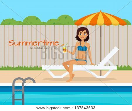 Girl in swimsuit on lounge with umbrella near the pool on house backyard. Flat style vector illustration.