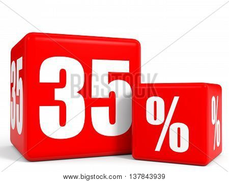 Red Sale Cubes. Thirty Five Percent Discount.