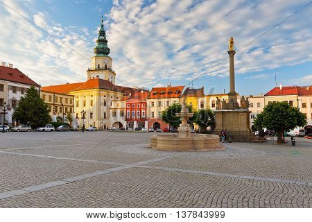 KROMERIZ, CZECH REPUBLIC - JUNE 21, 2016: Main square in Kromeriz city on June 21, 2016.