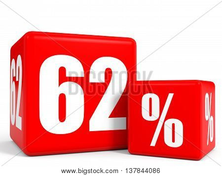 Red Sale Cubes. Sixty Two Percent Discount.
