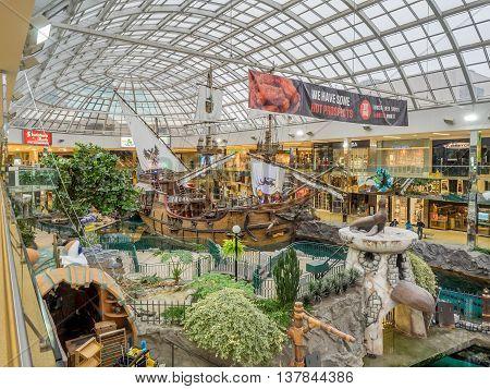 EDMONTON, CANADA - MAY 21: West Edmonton Mall wood galleon attraction on May 21, 2016 in Edmonton, Alberta. The West Edmonton Mall was once the largest mall in the world.