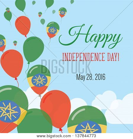 Independence Day Flat Greeting Card. Ethiopia Independence Day. Ethiopian Flag Balloons Patriotic Po