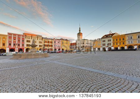 KROMERIZ, CZECH REPUBLIC - JUNE 21, 2016: Town hall in the main square of Kromeriz city in Moravia, Czech Republic on June 21, 2016.
