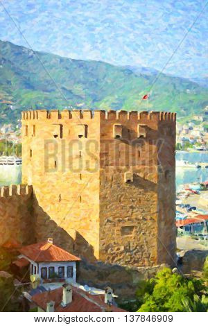 Turkey. View of Alanya's nature with Kizil Kule (Red Tower) Alanya
