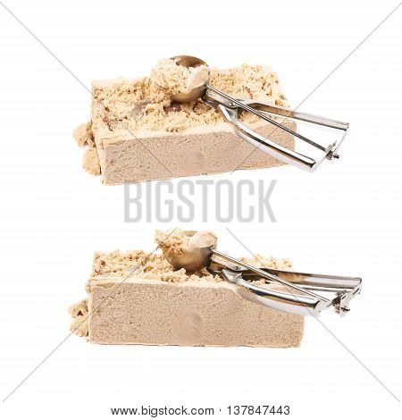 Briquette of a caramel ice cream with a special steel spoon over it, composition isolated over the white background, set of two different foreshortenings