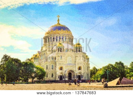 St. Nicholas naval Cathedral. In the center is a military naval Cathedral funds for the construction of which has been collected by the sailors Kronstadt Russia. Photo stylized illustration
