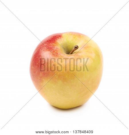Single ripe red and golden jonagold apple isolated over the white background