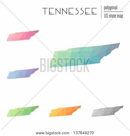 Set Of Vector Polygonal Tennessee Maps. Bright Gradient Map Of The Us State In Low Poly Style. Multi