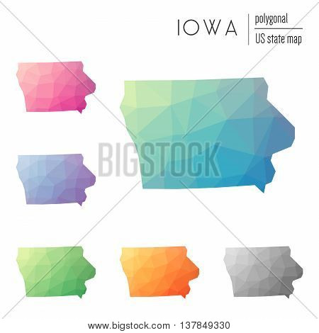 Set Of Vector Polygonal Iowa Maps. Bright Gradient Map Of The Us State In Low Poly Style. Multicolor