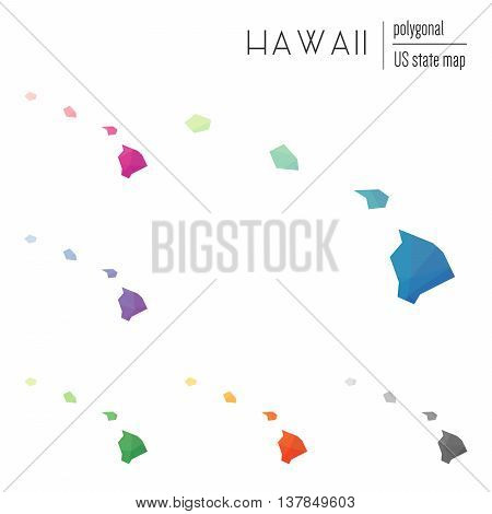 Set Of Vector Polygonal Hawaii Maps. Bright Gradient Map Of The Us State In Low Poly Style. Multicol