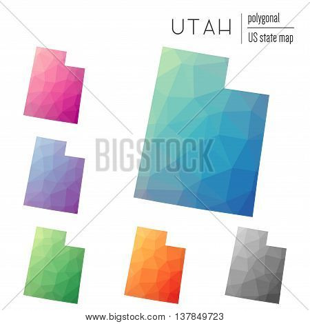Set Of Vector Polygonal Utah Maps. Bright Gradient Map Of The Us State In Low Poly Style. Multicolor