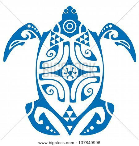 Maui Turtle Tribal Tattoo Motif Vector Illustration