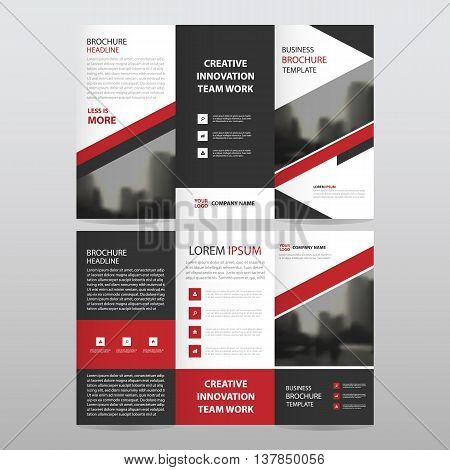 Red black triangle business trifold Leaflet Brochure Flyer report template vector minimal flat design set abstract three fold presentation layout templates a4 size
