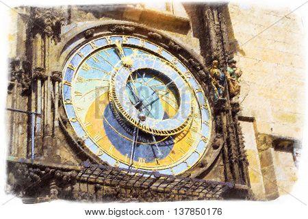 Prague Astronomical Clock (Orloj) in the old Town Square The old town hall (Staromestske namesti) Prague Czech Republic. Photo stylized illustration
