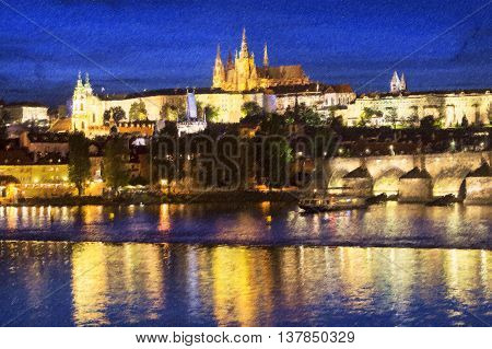 Pargue at dusk view of Lesser Bridge Tower of Charles Bridge (Karluv Most) and Prague Castle Czech Republic. Photo stylized illustration