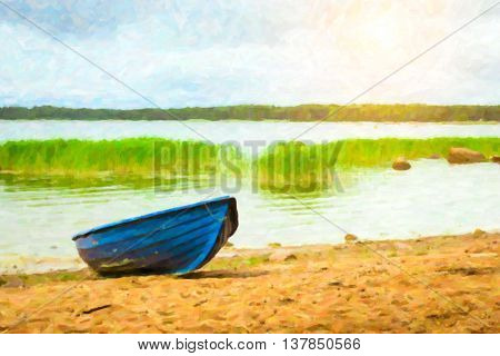 Blue rowing boat stands on a sandy shore in a quiet Bay of Finnish Gulf. Area for summer camping in the woods. Hamina, Finland, Suomi