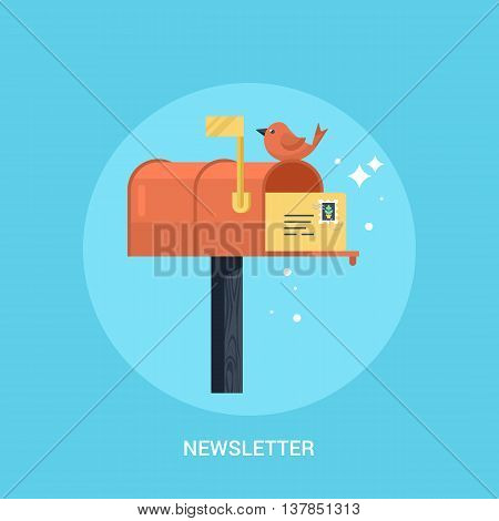 Mailbox flat modern icon. Concept of newsletter promotion andl digital marketing