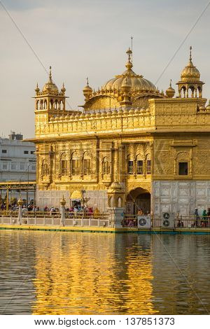 Amritsar, India - March 30, 2016: Golden Temple (Harmandir Sahib) in Amritsar, Punjab, India