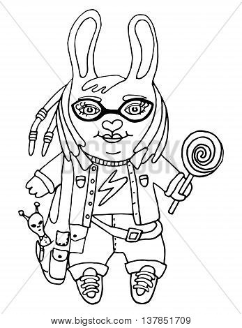Outline drawing a cute rabbit girl nerd in glasses with toy and candy cartoon character on isolated white background kids coloring book and coloring page print pattern vector illustration