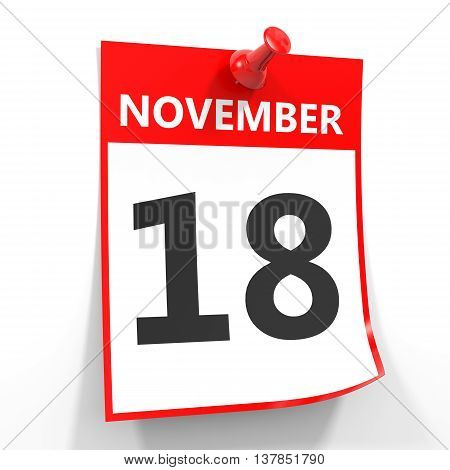 18 November Calendar Sheet With Red Pin.