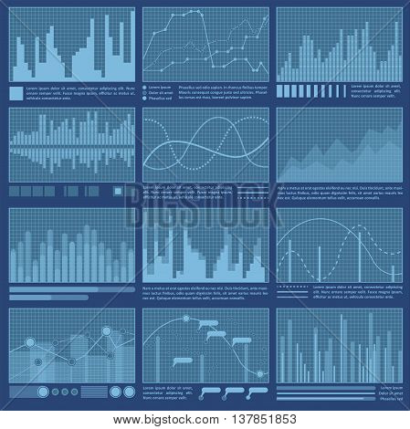 Graphs and charts set. Statistic and data information infographic. Vector illustration.
