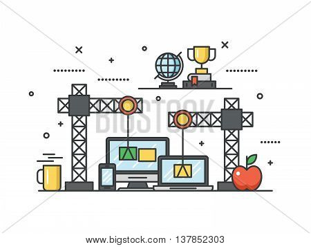 Thin line flat design for website under construction and web page building process concept