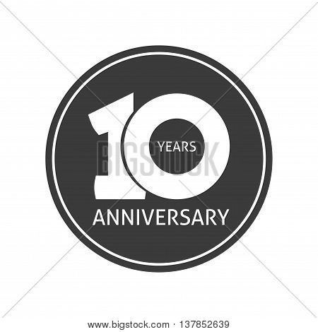 10 years anniversary sticker vector icon, 10th year birthday logo label, black and white stamp isolated